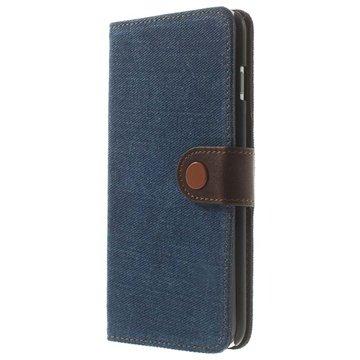 iPhone 6 Plus / 6S Plus Jeans Wallet Leren Hoesje Blauw