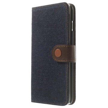 iPhone 6 Plus / 6S Plus Jeans Wallet Leren Hoesje Donkerblauw