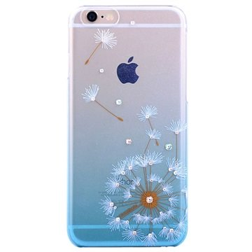iPhone 6 Plus / 6S Plus Kingxbar Swarovski Crystal Hard Cover - Paardebloem Blauw