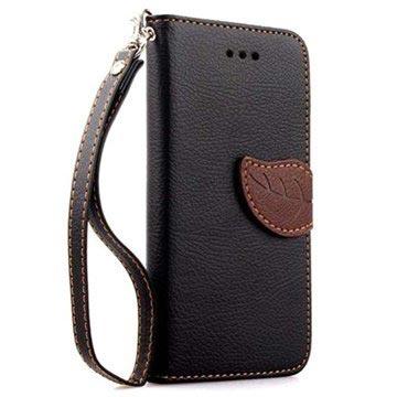iPhone 6 Plus / 6S Plus Leaf Wallet Leren Hoesje Zwart
