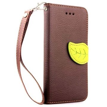 iPhone 6 Plus / 6S Plus Leaf Wallet Leren Hoesje Bruin
