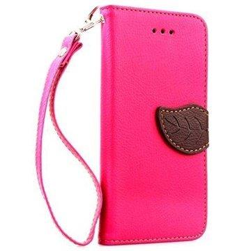 iPhone 6 Plus / 6S Plus Leaf Wallet Leren Hoesje Hot Pink