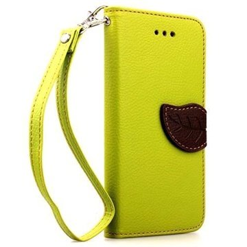 iPhone 6 Plus / 6S Plus Leaf Wallet Leren Hoesje Limoen