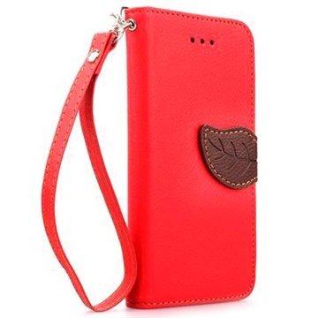 iPhone 6 Plus / 6S Plus Leaf Wallet Leren Hoesje Rood