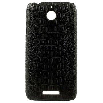 HTC Desire 510 Met Leder Bekleedde Hard Cover - Crocodile Zwart
