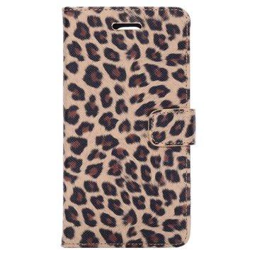 Samsung Galaxy Note 4 Wallet Leren Hoesje - Leopard Beige