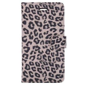 Samsung Galaxy Note 4 Wallet Leren Hoesje - Leopard Grijs