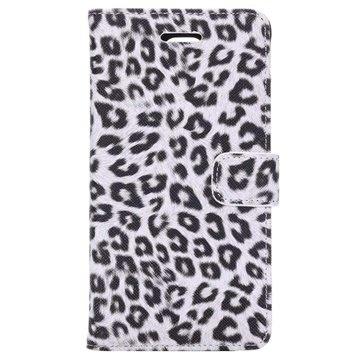 Samsung Galaxy Note 4 Wallet Leren Hoesje - Leopard Wit