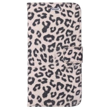 iPhone 6 Plus / 6S Plus Wallet Leren Hoesje - Leopard Beige