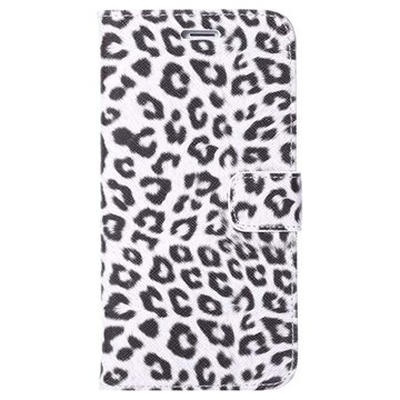 iPhone 6 Plus / 6S Plus Wallet Leren Hoesje - Leopard Wit