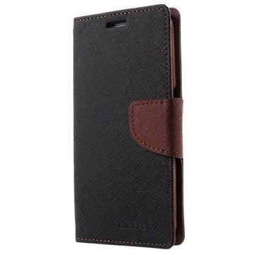 Samsung Galaxy S6 Mercury Goospery Fancy Diary Wallet Hoesje Zwart / Bruin