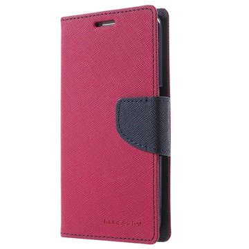 Samsung Galaxy S6 Mercury Goospery Fancy Diary Wallet Hoesje Hot Pink / Zwart