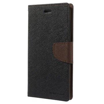 iPhone 6 Plus / 6S Plus Mercury Goospery Fancy Diary Wallet Hoesje Zwart / Bruin