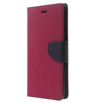 iPhone 6 Plus / 6S Plus Mercury Goospery Fancy Diary Wallet Hoesje Hot Pink / Zwart