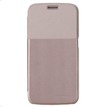 Samsung Galaxy S6 Momax Flip Case Goud / Beige
