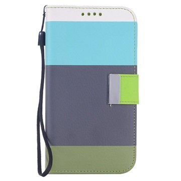 Samsung Galaxy S6 Multicolored Wallet Hoesje Blauw / Grijs / Army Groen