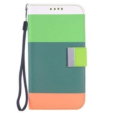 Samsung Galaxy S6 Multicolored Wallet Hoesje Groen / Army Groen / Oranje
