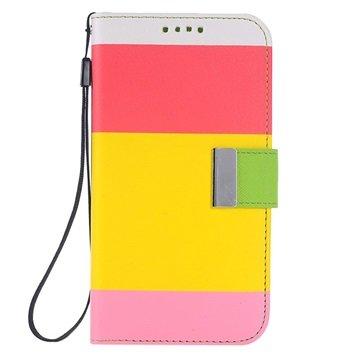 Samsung Galaxy S6 Multicolored Wallet Hoesje Rood / Geel / Roze