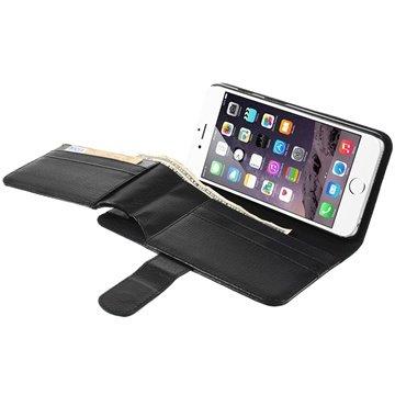 iPhone 6 Plus / 6S Plus Multifunctional Wallet Leren Hoesje Zwart