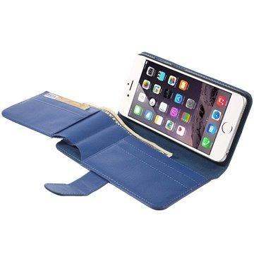 iPhone 6 Plus / 6S Plus Multifunctional Wallet Leren Hoesje Blauw