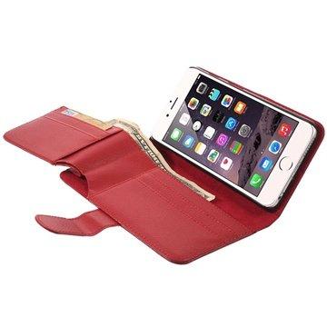 iPhone 6 Plus / 6S Plus Multifunctional Wallet Leren Hoesje Rood