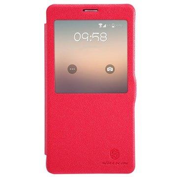 Samsung Galaxy Note 4 Nillkin Fresh Series Flip Leren Case Hot Pink