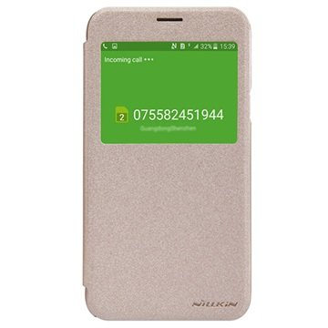Samsung Galaxy J5 Nillkin Sparkle Series Smart View Flip Case Goud