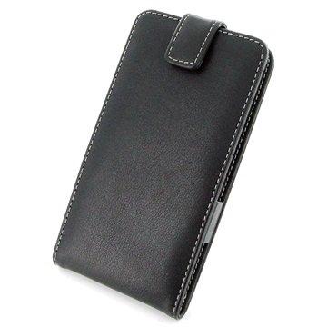 Samsung Galaxy Note 4 PDair Verticale Flip Leren Case Zwart