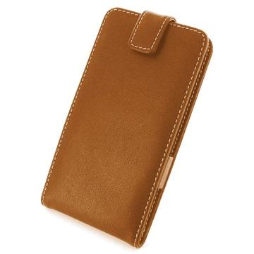 Samsung Galaxy Note 4 PDair Verticale Flip Leren Case Bruin