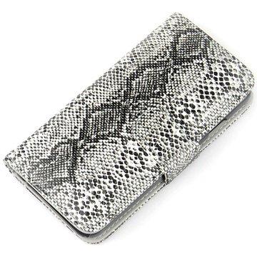 iPhone 6 Plus / 6S Plus Wallet Leren Hoesje - Slangenhuid Grijs