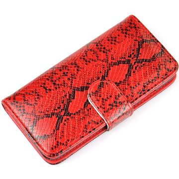iPhone 6 Plus / 6S Plus Wallet Leren Hoesje - Slangenhuid Rood
