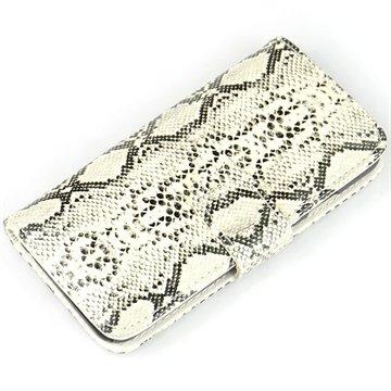 iPhone 6 Plus / 6S Plus Wallet Leren Hoesje - Slangenhuid Wit