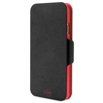 iPhone 6 Plus / 6S Plus Puro Bi-Color Wallet Leren Hoesje Zwart / Rood