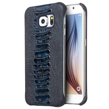 Samsung Galaxy S6 Qialino Leder Bekleed Hard Cover - Struisvogelhuid Blauw