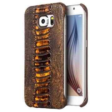 Samsung Galaxy S6 Qialino Leder Bekleed Hard Cover - Struisvogelhuid Bruin