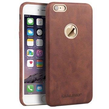 iPhone 6 Plus / 6S Plus Qialino Slim Leder Bekleed Hard Cover Bruin