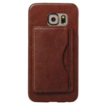 Samsung Galaxy S6 Retro Kickstand Hard Cover Bruin