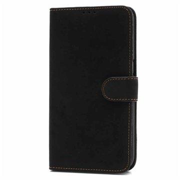 Samsung Galaxy Mega 6.3 I9200 Retro Wallet Leren Hoesje Zwart