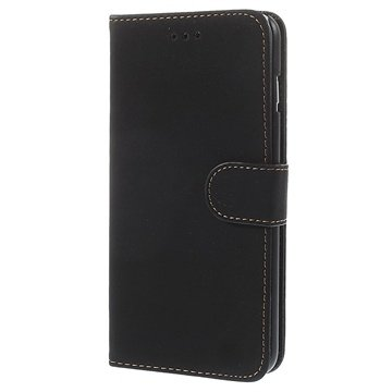 iPhone 6 Plus / 6S Plus Retro Wallet Leren Hoesje Zwart