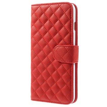 iPhone 6 Plus / 6S Plus Rhombus Wallet Leren Hoesje Rood