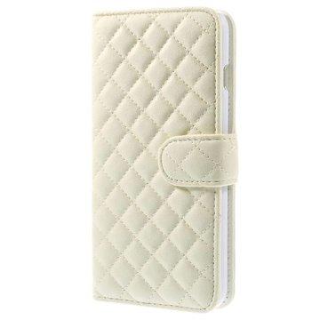 iPhone 6 Plus / 6S Plus Rhombus Wallet Leren Hoesje Wit