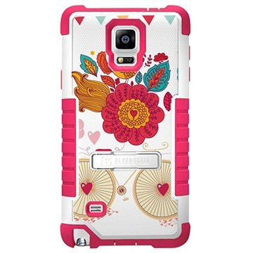 Samsung Galaxy Note 4 Beyond Cell Tri Shield Design Hybrid Cover Bird of Paradise