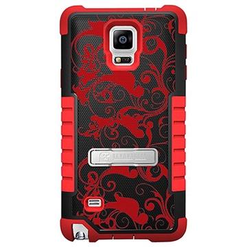 Samsung Galaxy Note 4 Beyond Cell Tri Shield Design Hybride Cover Bloemen Rood / Zwart