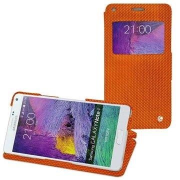 Samsung Galaxy Note 4 Noreve Tradition D Flip Leren Case - Horizon Abaca Arancio