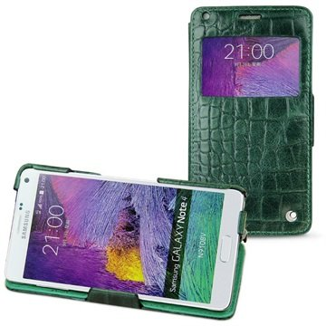 Samsung Galaxy Note 4 Noreve Tradition D Flip Leren Case - Horizon Crocodile Pino