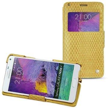 Samsung Galaxy Note 4 Noreve Tradition D Flip Leren Case - Horizon Serpent Sabbia