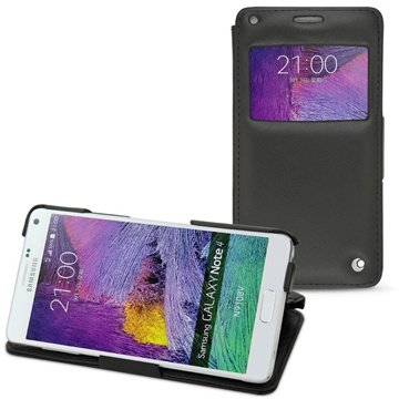 Samsung Galaxy Note 4 Noreve Tradition D Flip Leren Case Perpétuelle Zwart