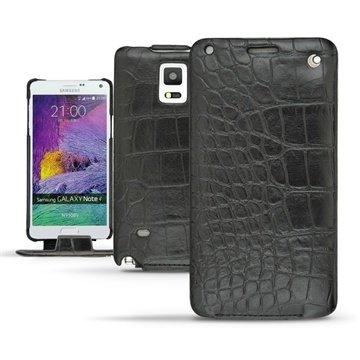Samsung Galaxy Note 4 Noreve Tradition Flip Leren Case Crocodile Zwart