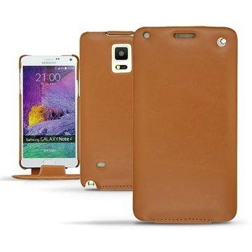 Samsung Galaxy Note 4 Noreve Tradition Flip Leren Case Perpétuelle Bruin