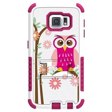 Samsung Galaxy S6 Beyond Cell Tri Shield Design Hybride Cover Daisy Owl